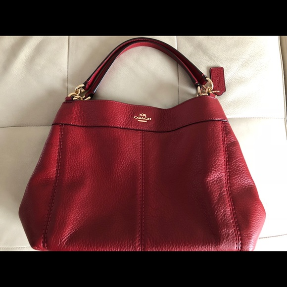 f91bc9996ea79 Coach Handbags - Coach Small Lexy Shoulder Bag in Red Leather